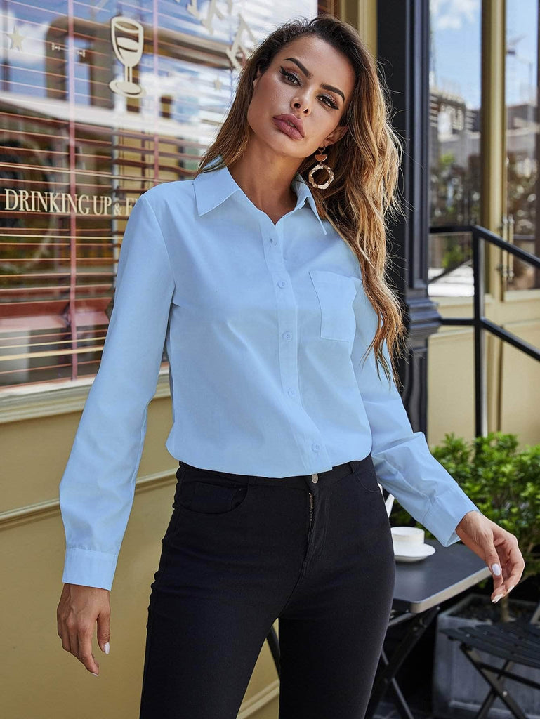 Muybonita.co basicas2 Baby Blue / S Pocket Detail Curved Hem Blouse