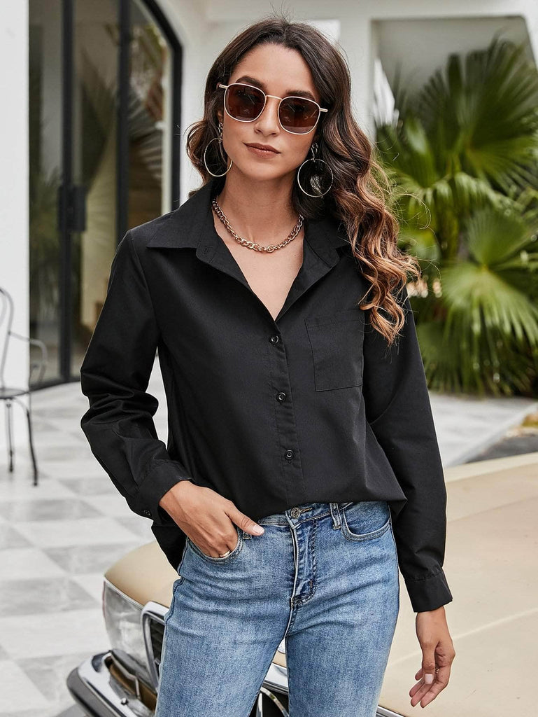 Muybonita.co basicas2 Black / S Pocket Detail Curved Hem Blouse