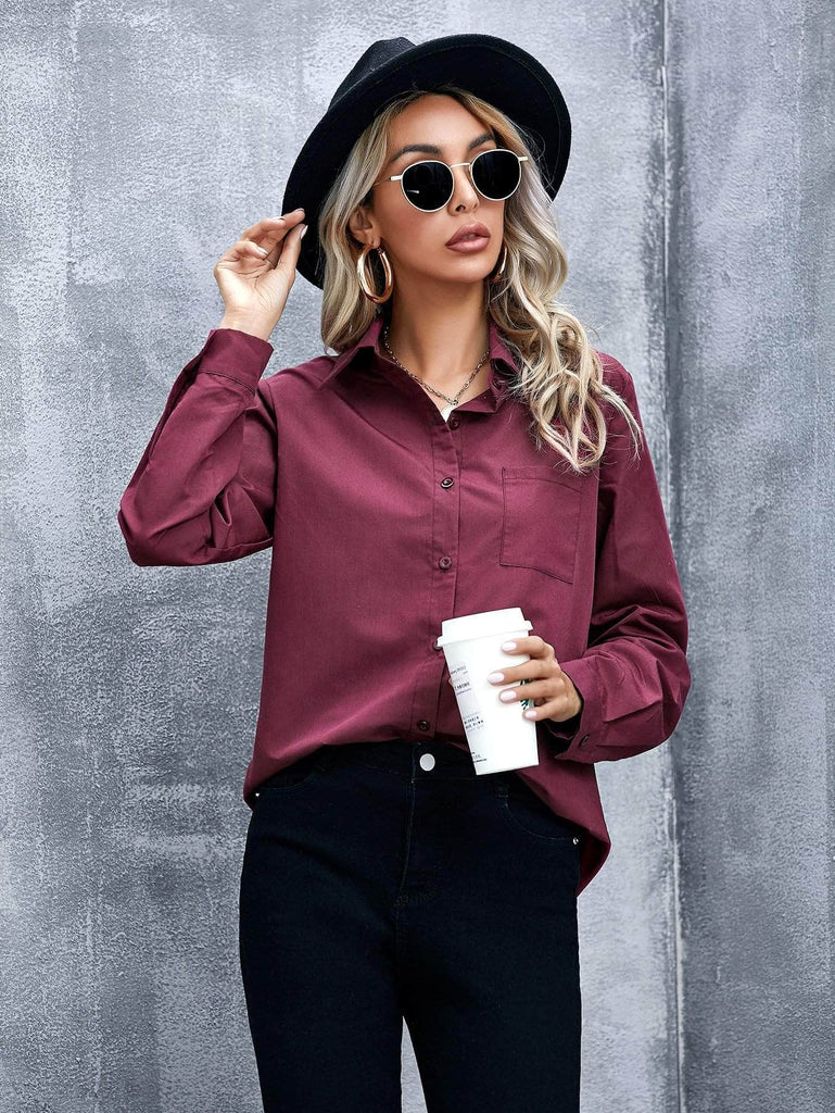 Muybonita.co basicas2 Burgundy / S Pocket Detail Curved Hem Blouse