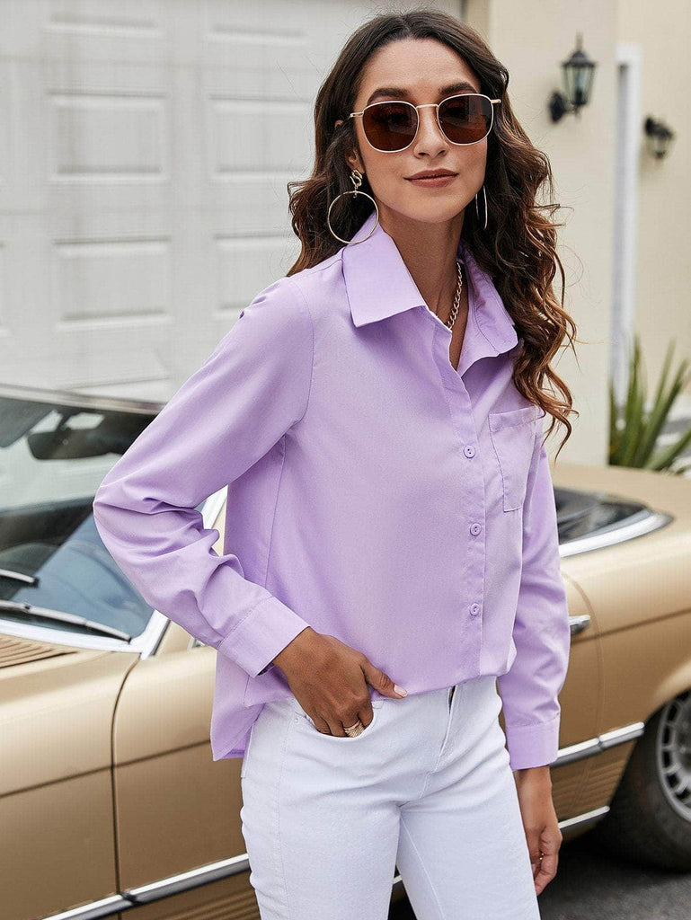Muybonita.co basicas2 Lilac Purple / S Pocket Detail Curved Hem Blouse