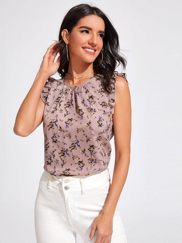 Muybonita.co Casualessinmangas Dusty Pink / S Top floral de sisa con fruncido