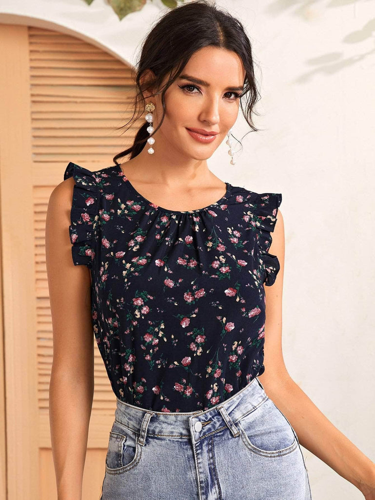 Muybonita.co Casualessinmangas Navy Blue / S Top floral de sisa con fruncido