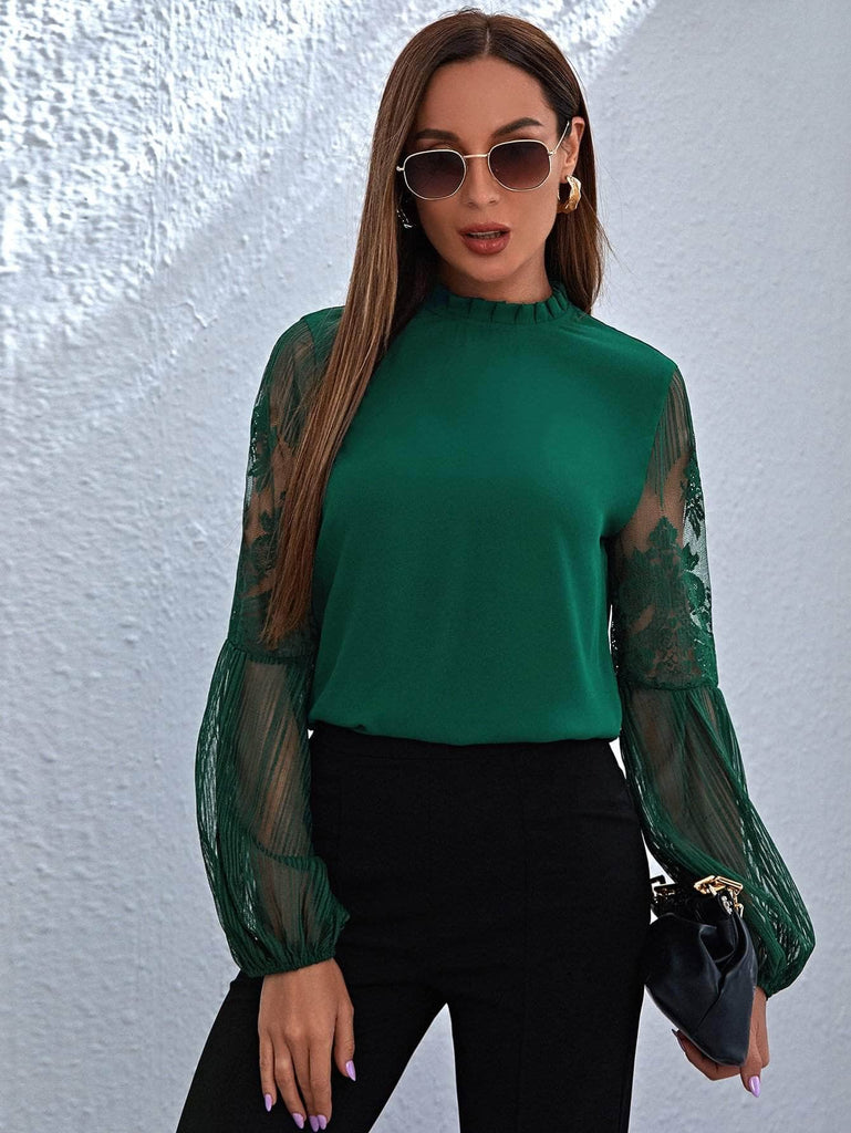 Muybonita.co Elegantesmangalarga4 Dark Green / XS Frill Neck Lace Lantern Sleeve Top