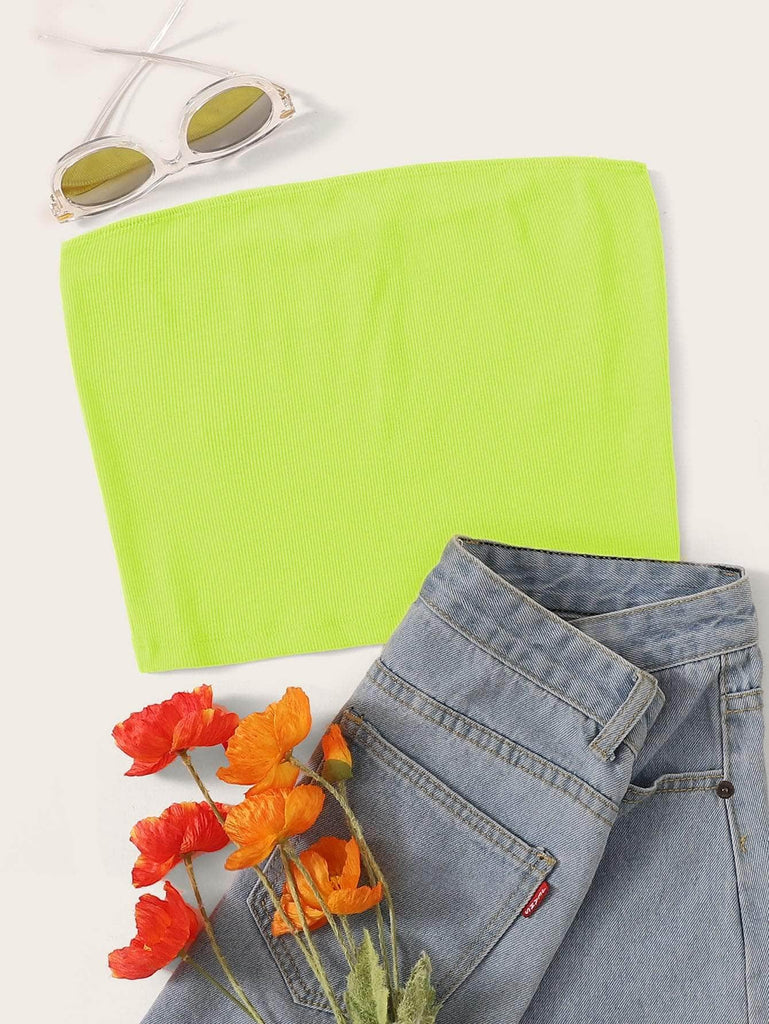 Muybonita.co Topsbohemiossinmangas Lime Green / XS Ribbed Cropped Tube Top