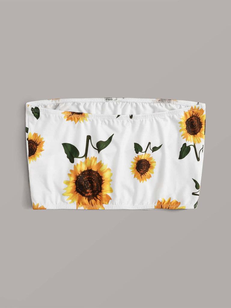 Muybonita.co Topsbohemiossinmangas Sunflower print brasier sin tirantes top