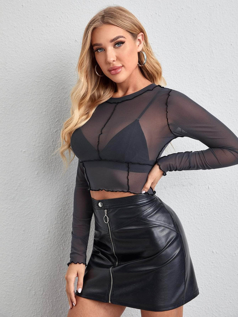 Muybonita.co Topssensualesmangalarga Dark Grey / XS Seam Trim Sheer Mesh Crop Top Without Bra