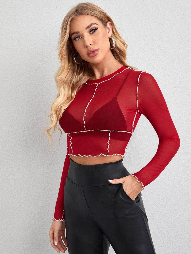 Muybonita.co Topssensualesmangalarga Seam Trim Sheer Mesh Crop Top Without Bra