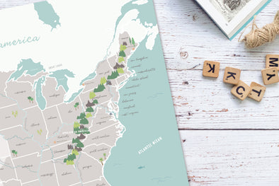 Illustrated United States Map Poster with Physical Features | Pretty Nerdy Press