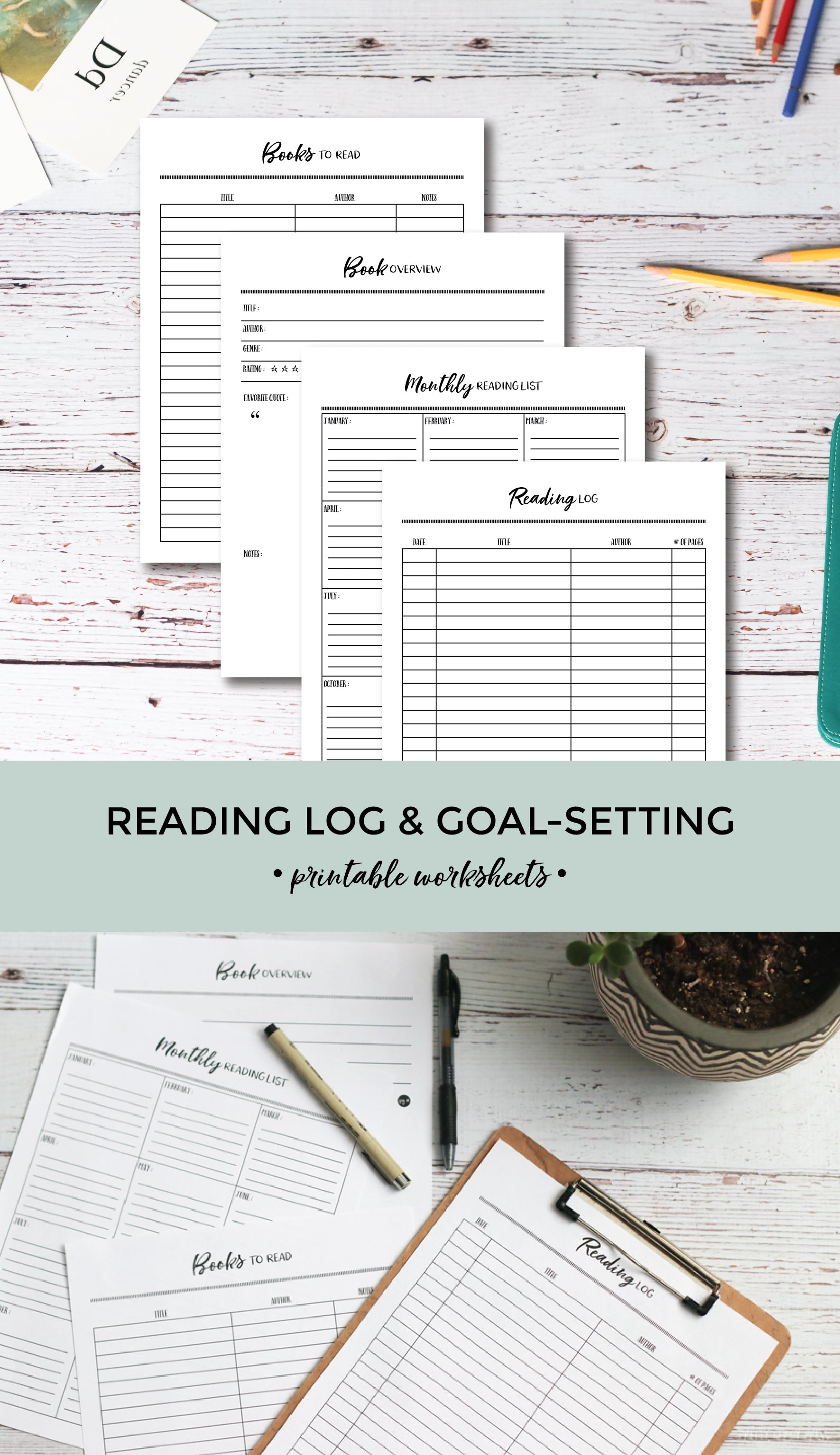 Reading Log & Goal-Setting Printable Worksheets | For Homeschool or Classrooms | Pretty Nerdy Press