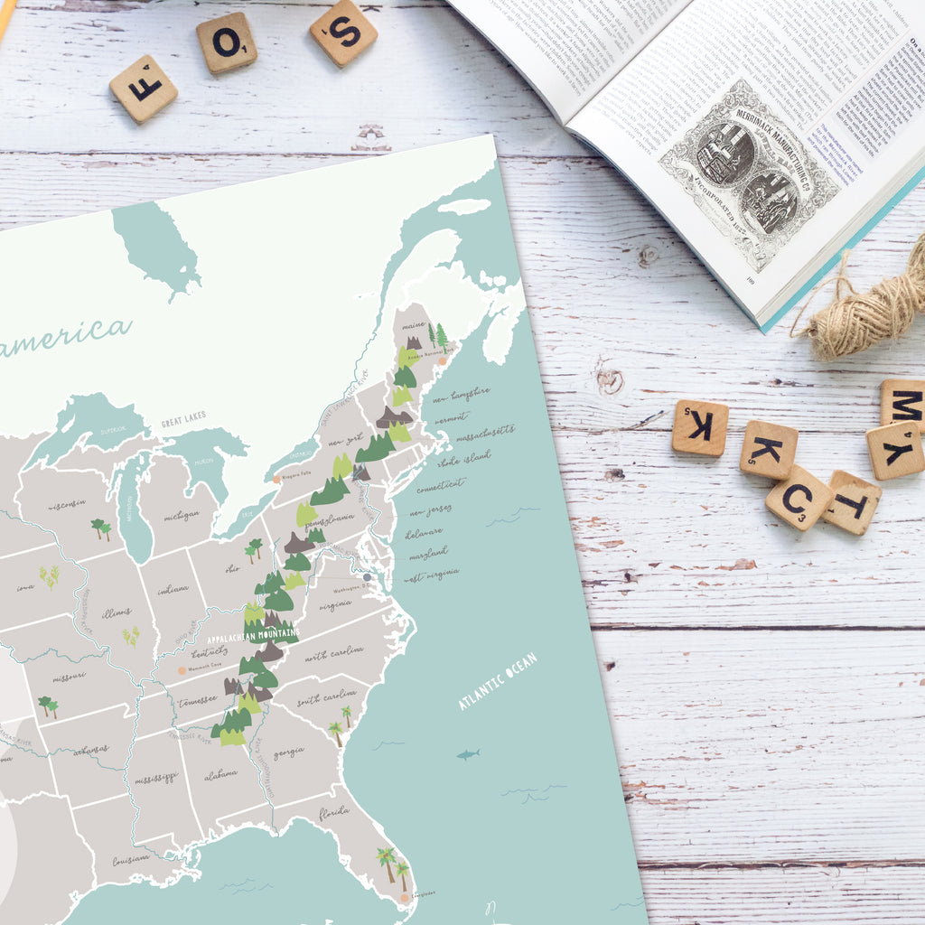Illustrated United States Map with Physical Features | Homeschool Wall Art | Pretty Nerdy Press