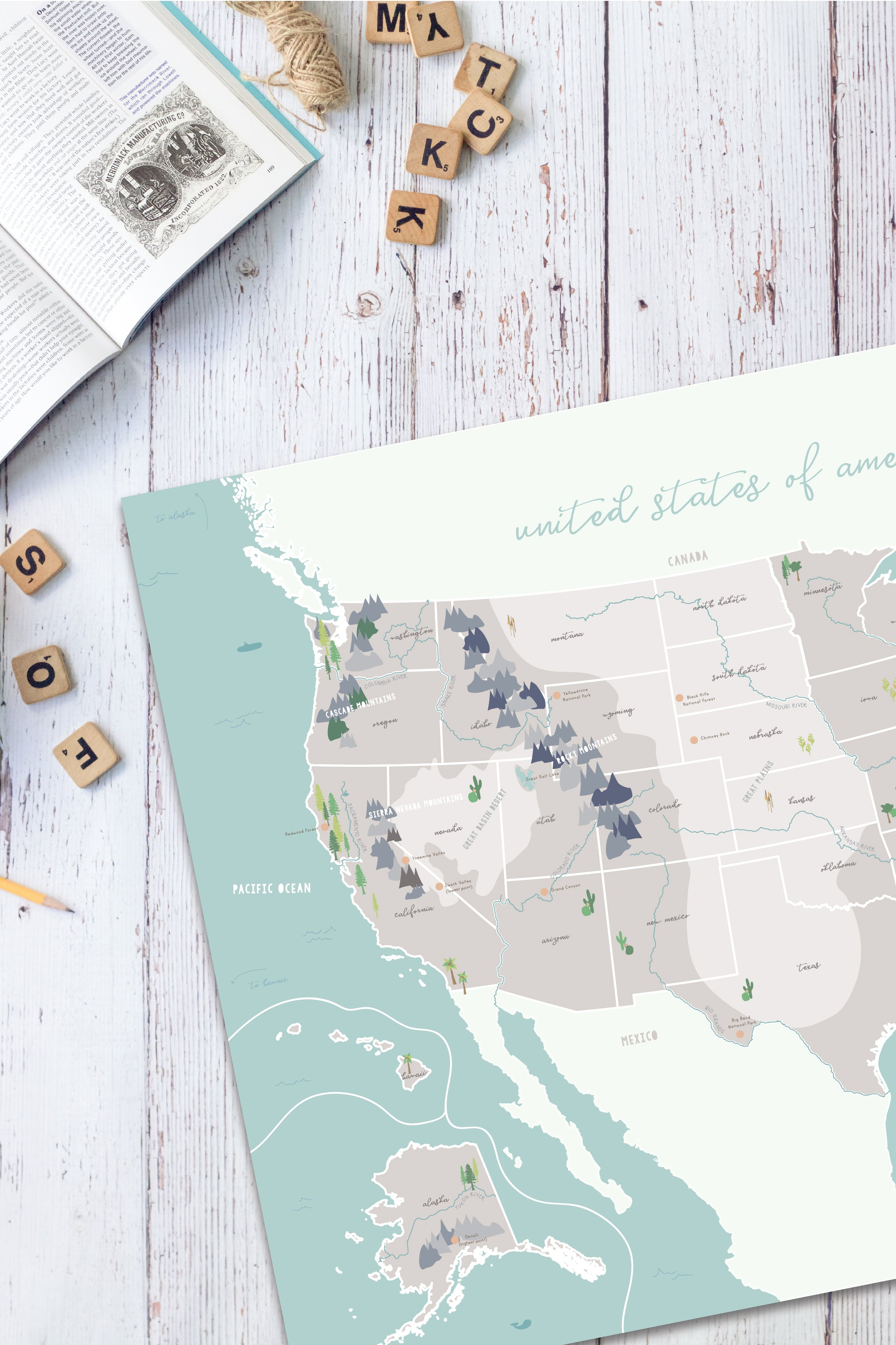 Illustrated United States Map with Physical Features | Pretty Nerdy Press