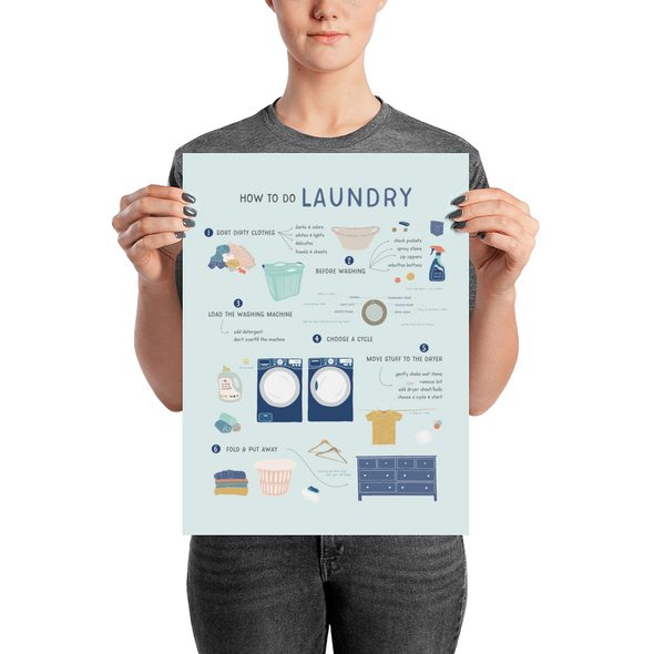"How to Do Laundry Poster 12"" x 16"" 