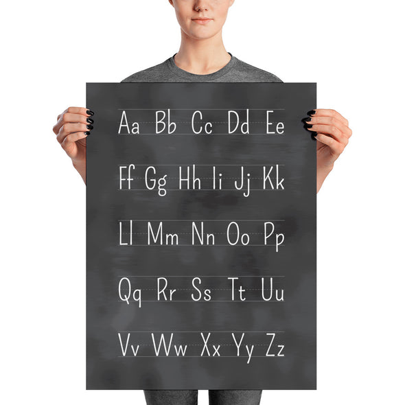 "Blackboard Alphabet Printed Poster 18"" x 24"" Educational Art Print 