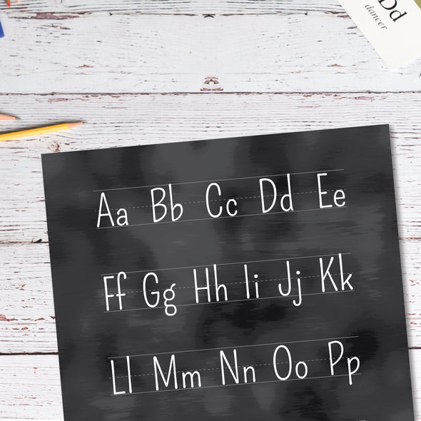 Blackboard Alphabet Educational Poster Close-up | Pretty Nerdy Press