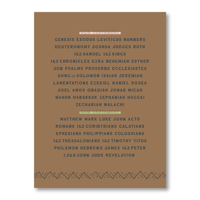 Books of the Bible (Earthy) Poster | Educational Bible Poster