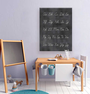 Cursive Chalkboard Alphabet Wall Canvas