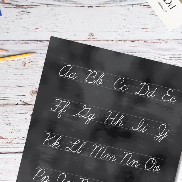 Educational Poster Set with Cursive Chart for Upper Elementary School | Pretty Nerdy Press