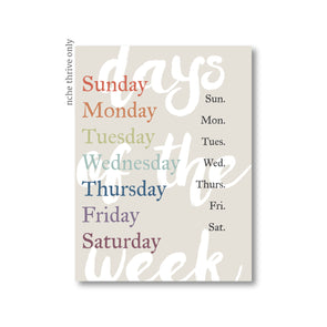 Days of The Week Art Print