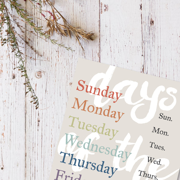 Days of the Week | Educational Art Print for Kids or Classroom | Pretty Nerdy Press