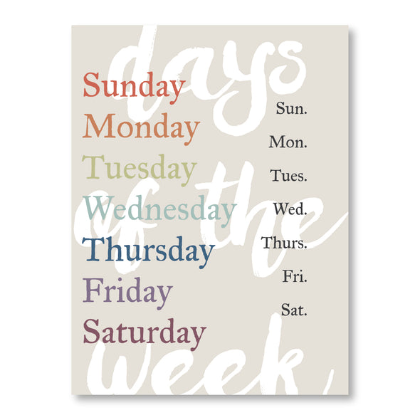 Printable Days of the Week | Educational Poster | Spelling | Pretty Nerdy Press
