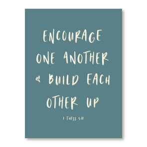Encourage One Another Art Print | Encouraging Scripture Poster | Pretty Nerdy Press