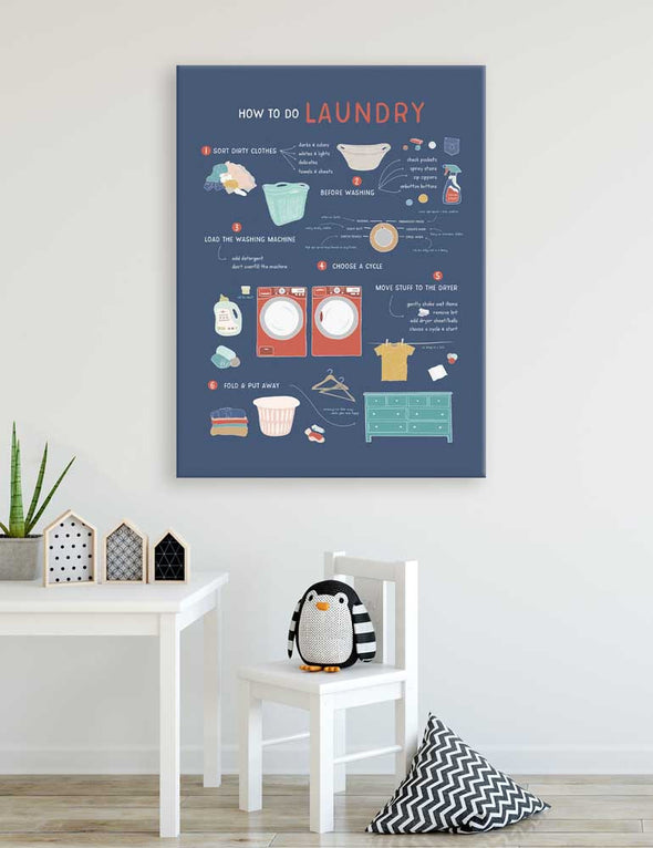 How to Do Laundry Dark Wall Canvas