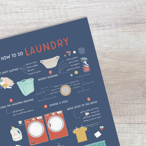 How to Do Laundry Poster for Kids and Home | Pretty Nerdy Press