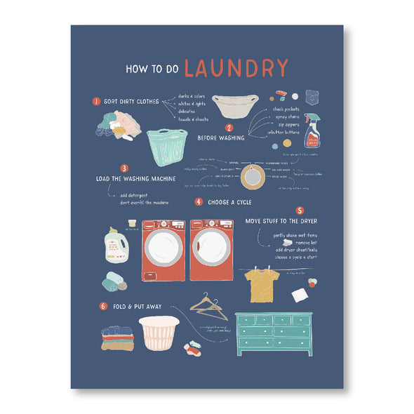 How to Do Laundry Poster for Farmhouse | Pretty Nerdy Press