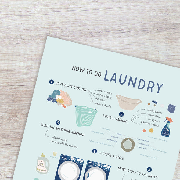 How to do Laundry Poster for Home and Kids Close Up | Pretty Nerdy Press