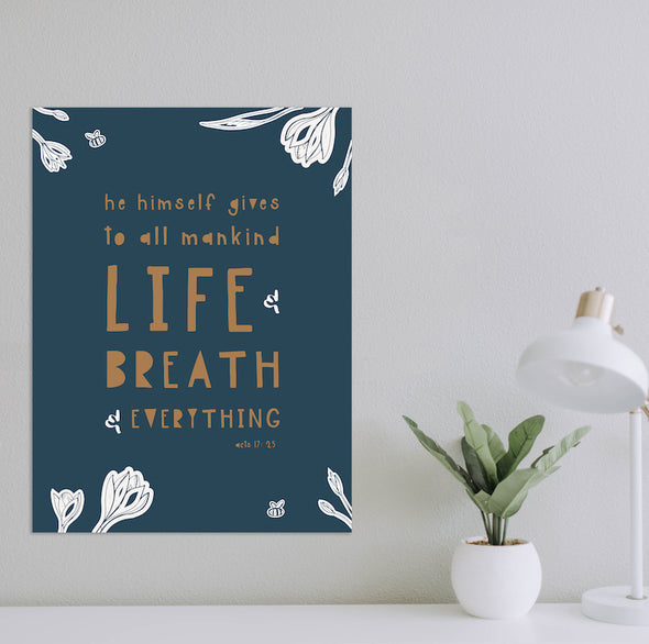 Life and Breath and Everything Poster | Navy Floral | Pretty Nerdy Press