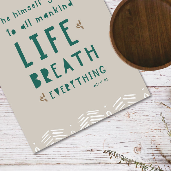 Life and Breath and Everything Poster | Neutral | Pretty Nerdy Press