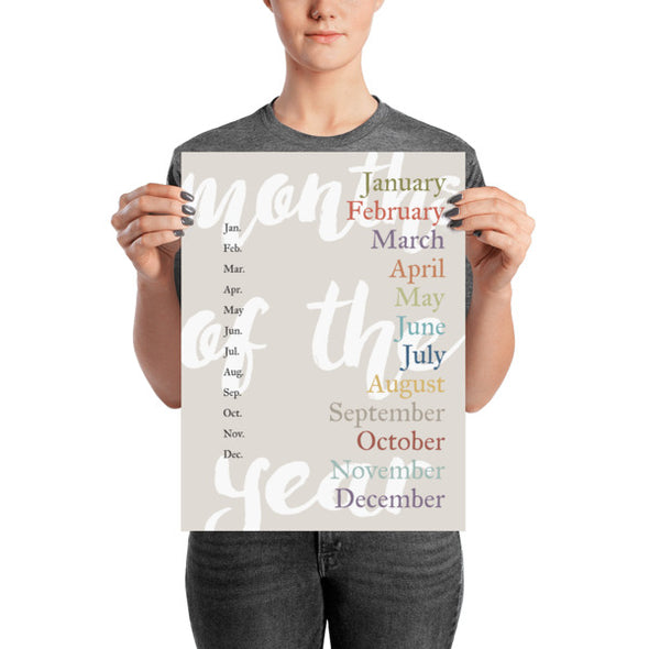 "Months of the Year Poster for Homeschool or Classroom 12"" x 16"" 
