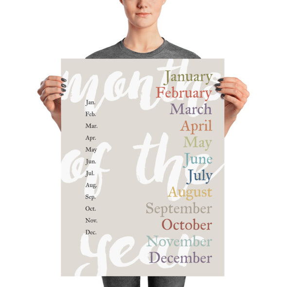 "Months of the Year Poster for Homeschool or Classroom 18"" x 24"" 