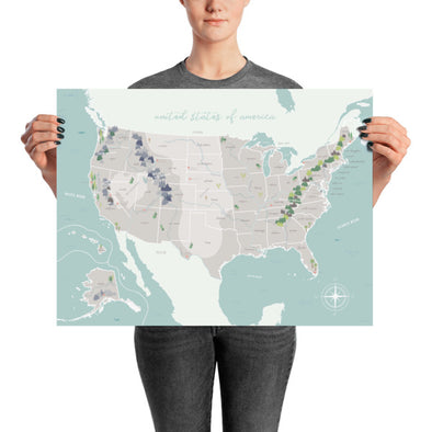 "United States Map with Physical Features | Beautiful Illustrated Map for Homeschool or Classroom 18"" x 24"" 