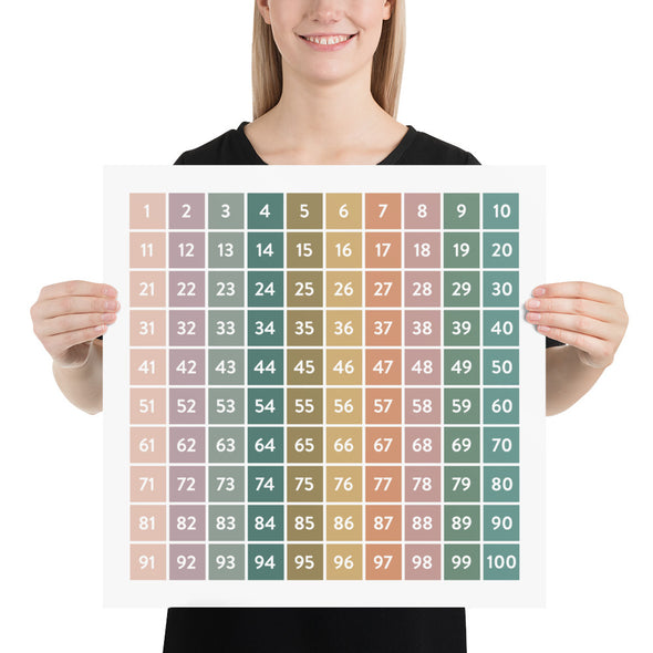 Modern Hundreds Chart | Educational Poster | Math Chart | Pretty Nerdy Press