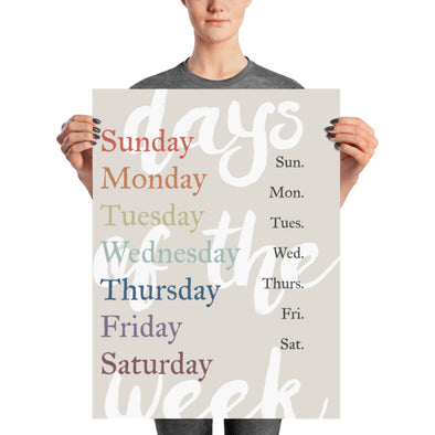 "Days of the Week Poster 18"" x 24"" Educational Art Print 