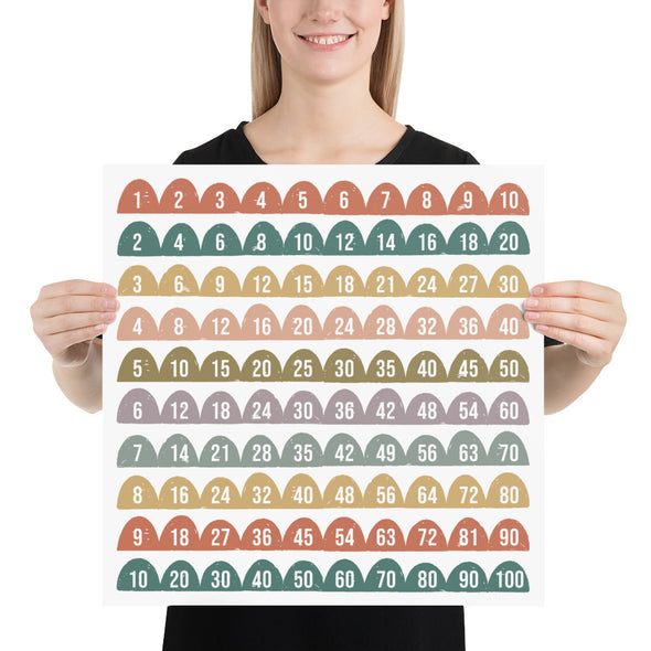 Half Circle Earth Tones Skip Counting Poster | Pretty Nerdy Press