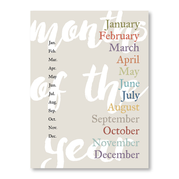 Printable Months of the Year | Educational Poster | Spelling | Pretty Nerdy Press