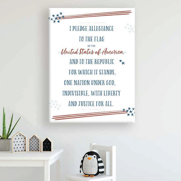 Pledge of Allegiance Wall Canvas Kids Art | Pretty Nerdy Press