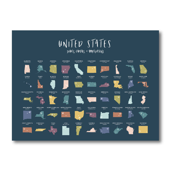 States & Capitals Poster for Homeschool or Classroom | Pretty Nerdy Press
