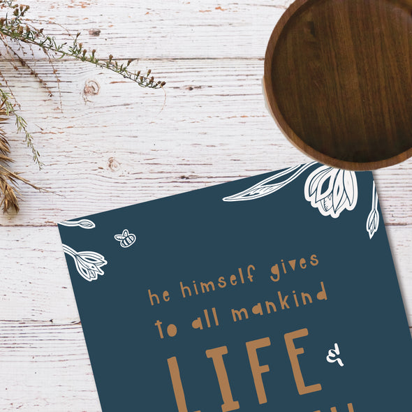 Life and Breath and Everything Art Print | Navy Floral | Pretty Nerdy Press