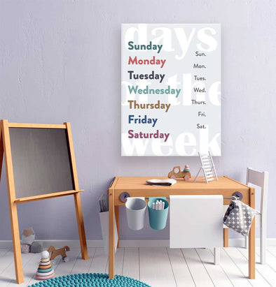 Days of the Week Canvas Wall Art for Kids | Pretty Nerdy Press