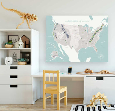 United States Map Wall Canvas