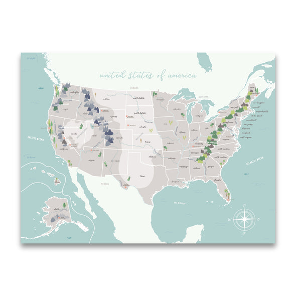 United States Map with Physical Features | Beautiful Illustrated Map for Homeschool or Classroom | Pretty Nerdy Press