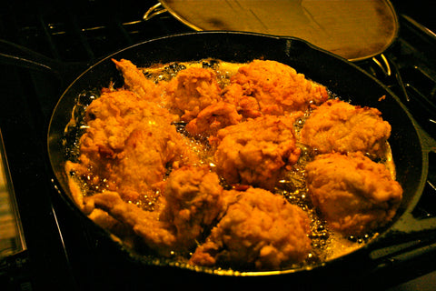 Frying up some chicken in my iron skillet