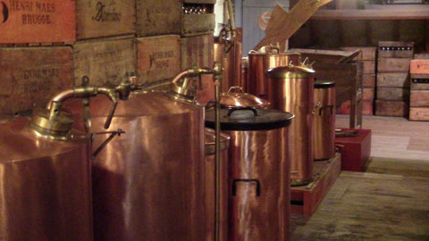 Copper pots at De Halve Maan Brewery