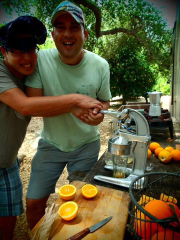 Brian and Justin at the Ojai orange grove