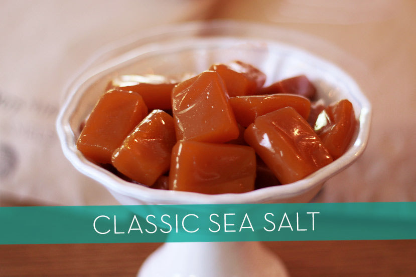 Classic Sea Salt Caramels from Los Angeles made with local organic ingredients, topped with fine Maldon Sea Salt.