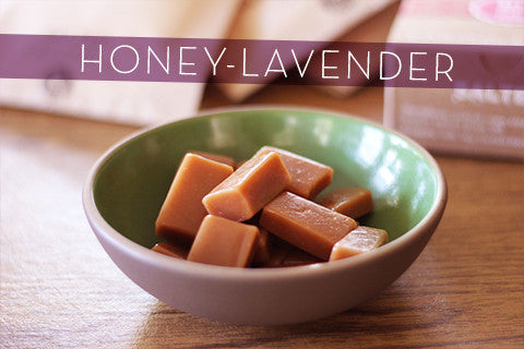 Honey Lavender Caramels made with local organic ingredients, wildflower honey and Ojai lavender blossoms