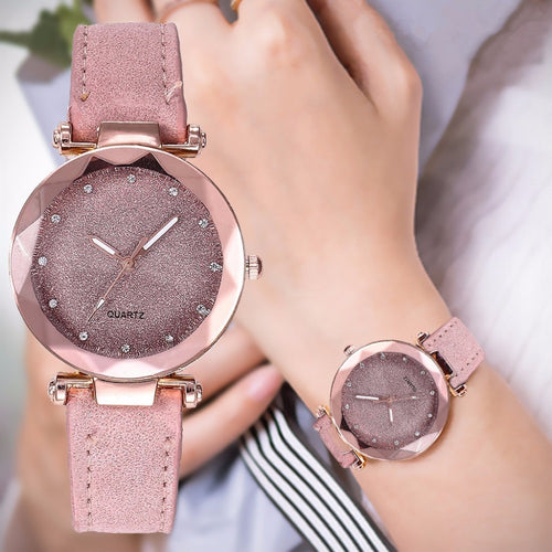 Designer Ladies Romantic Starry Sky Wrist Watch Leather Rhinestone